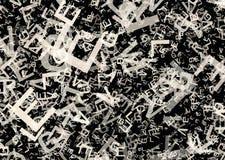 Velen vatten chaotische grijze alfabetbrieven samen stock illustratie