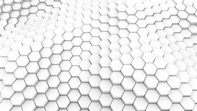 Velen vatten geometrische zeshoeken als golf, optische illusie, computer het geproduceerde samen 3D teruggeven royalty-vrije illustratie