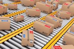 Velen verdelen Kartondozen over de Lijnen van de Roltransportband 3D rende stock illustratie
