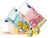 Velen verschillend geld royalty-vrije illustratie