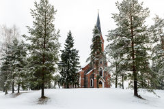 Velena Ev Chiesa luterana in Lettonia all'inverno Fotografia Stock Libera da Diritti