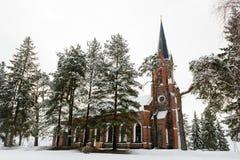 Velena Ev Chiesa luterana in Lettonia all'inverno Fotografia Stock