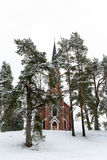 Velena Ev Lutherische Kirche in Lettland am Winter Lizenzfreies Stockbild