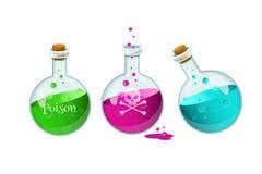 Veleno Bottlles Icona del gioco di una bottiglia del veleno Immagini Stock Libere da Diritti