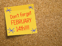 Velentine, February 14 reminder note on cork Royalty Free Stock Image