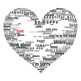 Velentine heart made of love words Stock Image