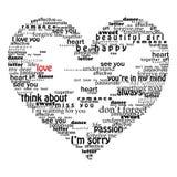 Velentine Inneres gebildet von den Liebeswörtern Stockbild