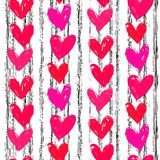 Velentine's day pattern with hand painted hearts. Royalty Free Stock Photography