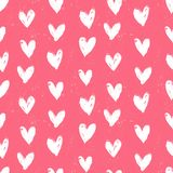 Velentine's day pattern with hand painted hearts. Stock Photos