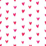 Velentine's day pattern with hand painted hearts. Royalty Free Stock Images