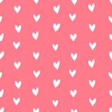 Velentine's day pattern with hand painted hearts. Royalty Free Stock Image