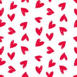 Velentine's day pattern with hand painted hearts. Stock Images