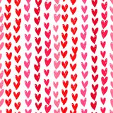 Velentine's day pattern with hand painted hearts. Stock Photo