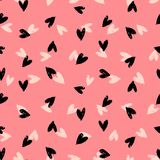 Velentine's day pattern with hand painted hearts. Royalty Free Stock Photo