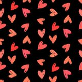 Velentine's day pattern with hand painted hearts. Royalty Free Stock Photos