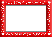 Velentine's frame. Red Frame with white hearts and white background Stock Photos