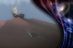 Velero antiguo en una duna de arena libre illustration