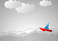 Velero brillante en paisaje marino gris Estilo del diagrama esquemático de la tecnología Imagenes de archivo