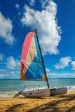 Velero del catamarán en un día de verano hermoso Imágenes de archivo libres de regalías