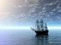 Velero en el mar stock de ilustración