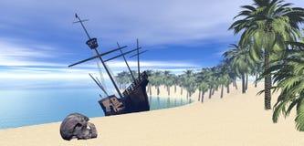 Velero en la isla de desierto stock de ilustración