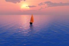 Velero en la puesta del sol fotografía de archivo