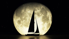 Velero y la luna Imagen de archivo