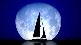 Velero y la luna Imagen de archivo libre de regalías