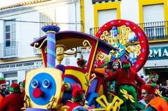 VELEZ-MALAGA, ESPANHA - 5 de janeiro de 2018 parada por ocasião de Imagem de Stock Royalty Free