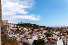 VELEZ-MALAGA, SPAIN - AUGUST 17, 2018 view of buildings in small royalty free stock photo