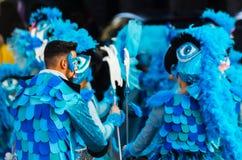 VELEZ-MALAGA, SPAIN - FEBRUARY 3, 2018People in costumes celebr. VELEZ-MALAGA, SPAIN - FEBRUARY 3, 2018 People in costumes celebrating carnival in Malaga stock images