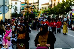 VELEZ-MALAGA, SPAIN - FEBRUARY 3, 2018People in costumes celebr. VELEZ-MALAGA, SPAIN - FEBRUARY 3, 2018 People in costumes celebrating carnival in Malaga stock photography