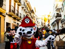 VELEZ-MALAGA, SPAIN - FEBRUARY 3, 2018People in costumes celebr. VELEZ-MALAGA, SPAIN - FEBRUARY 3, 2018 People in costumes celebrating carnival in Malaga royalty free stock photos
