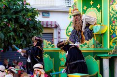 VELEZ-MALAGA, SPAIN - JANUARY 5, 2018.Parade on the occasion of the Epiphany holiday in Andalusia, Epiphany Celebrating in Malaga. VELEZ-MALAGA, SPAIN - JANUARY royalty free stock images