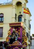 VELEZ-MALAGA, SPAIN - JANUARY 5, 2018 Parade on the occasion of. The Epiphany holiday  in Malaga province, holiday day, procession Royalty Free Stock Photo