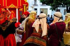 VELEZ-MALAGA, SPAIN - JANUARY 5, 2018 Parade on the occasion of. The Epiphany holiday  in Malaga province, holiday day, procession Stock Photo