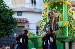 VELEZ-MALAGA, SPAIN - JANUARY 5, 2018.Parade on the occasion of the Epiphany holiday in Andalusia, Epiphany Celebrating in Malaga. VELEZ-MALAGA, SPAIN - JANUARY royalty free stock image
