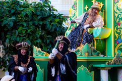 VELEZ-MALAGA, SPAIN - JANUARY 5, 2018.Parade on the occasion of the Epiphany holiday in Andalusia, Epiphany Celebrating in Malaga. VELEZ-MALAGA, SPAIN - JANUARY royalty free stock photo