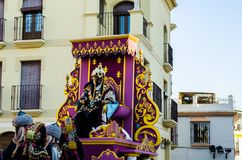 VELEZ-MALAGA, SPAIN - JANUARY 5, 2018 Parade on the occasion of. The Epiphany holiday  in Malaga province, holiday day, procession Stock Images