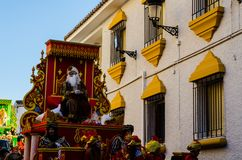 VELEZ-MALAGA, SPAIN - JANUARY 5, 2018 Parade on the occasion of. The Epiphany holiday  in Malaga province, holiday day, procession Stock Photography