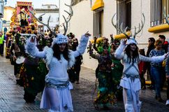 VELEZ-MALAGA, SPAIN - JANUARY 5, 2018 Parade on the occasion of. The Epiphany holiday  in Malaga province, holiday day, procession Royalty Free Stock Photos