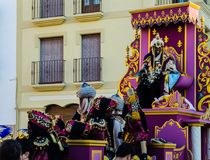 VELEZ-MALAGA, SPAIN - JANUARY 5, 2018 Parade on the occasion of. The Epiphany holiday  in Malaga province, holiday day, procession Royalty Free Stock Photography
