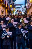 VELEZ-MALAGA, SPANIEN - 24. März 2018 Leute, die an teilnehmen Stockfotografie
