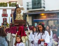 Velez-MALAGA, SPANJE - MAART die 24, 2018 Mensen aan deelnemen Royalty-vrije Stock Afbeelding