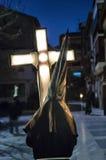 De Optocht van de stilte met Heilig Virgin, Onze Dame van Eenzaamheid Stock Fotografie