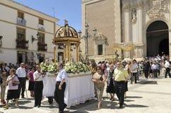 Corpus Christi in Velez-Rubio, Almeria, Spain. Velez-Rubio,Spain - Participants in the traditional Corpus Christi religious procession on June 10, 2012  in Velez Stock Photography