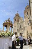 Corpus Christi in Velez-Rubio, Almeria, Spain. Velez-Rubio,Spain - Participants in the traditional Corpus Christi religious procession on June 10, 2012  in Velez Royalty Free Stock Image