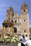Corpus Christi in Velez-Rubio, Almeria, Spain. Velez-Rubio,Spain - Participants in the traditional Corpus Christi religious procession on June 10, 2012  in Velez Royalty Free Stock Photos