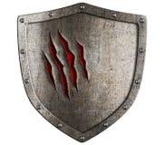 Velho danificado por medieval da besta shiled Fotografia de Stock