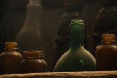 Velho, Dusty Jars Fotografia de Stock